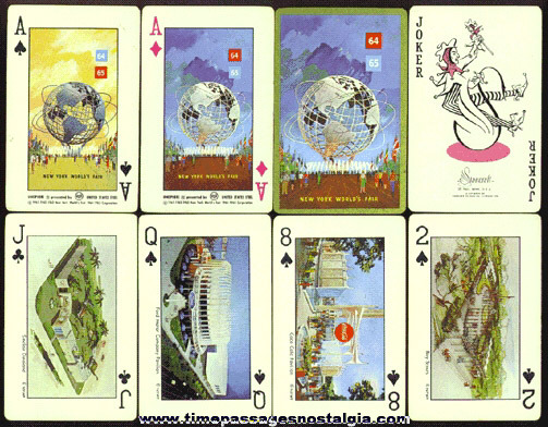 1964 - 1965 New York World's Fair Deck Of Playing Cards With Exhibit Pictures