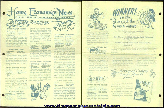 1955 Public Service Electric & Gas Company Home Economics Newsletter