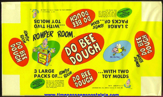 Old Unused Romper Room Do Bee Dough Paper Package Label / Wrapper