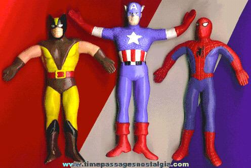 (3) Different ©1989 Marvel Comics Super Hero Bendy Action Figures