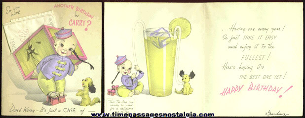 Old Birthday Card With An Unused Tea Bag