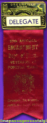 1933 Veterans Of Foreign Wars (V.F.W.) Encampment Delegate Ribbon With Badge