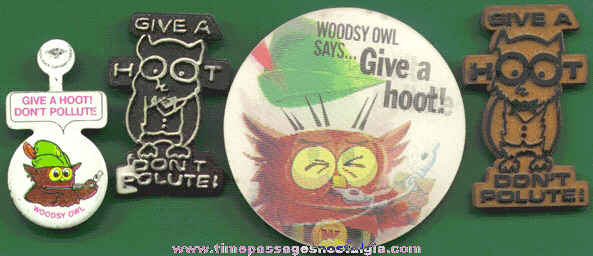 "(4) Different WOODSY OWL ""Give A Hoot - Don't Polute"" Items"