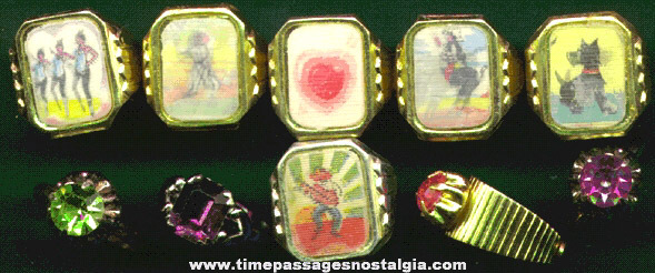 (10) 1960's Novelty / Gum Ball Machine Prize Toy Rings