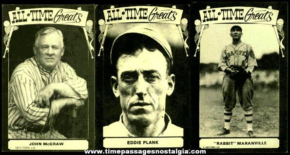 "(3) 1970's Baseball ""All Time Greats"" Arcade Exhibit / Postcards"