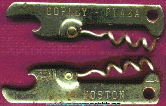 Old Copley Plaza Boston, Massachusetts Advertising Bottle Opener / Corkscrew