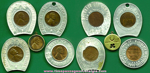 (5) Old Encased Good Luck Cents