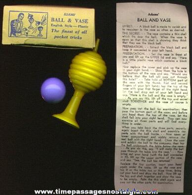 Old ADAMS Ball & Vase Boxed Magic Trick