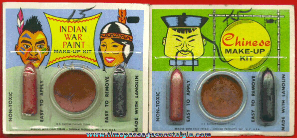 (2) Unopened 1950's Politically Incorrect Indian & Chinese Toy Make Up Kits