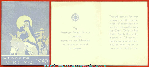 1940 Refugee Thank You & Christmas Card