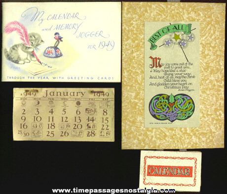 (3) Different Small 1940's Calendars