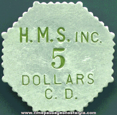 Old Aluminum 5 Dollar Coin