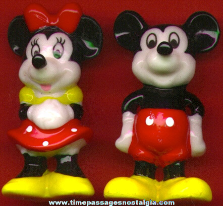 Pair Of Mickey & Minnie Mouse Bone China Figurines