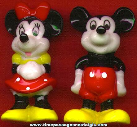 Pair Of Mickey & Minnie Mouse Bone China Figurines