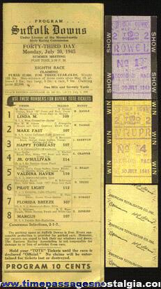(4) 1945 Horse Racing Items