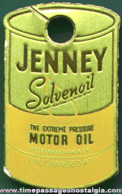 Old Jenny Motor Oil Advertising Key Chain Or Key Ring Tag
