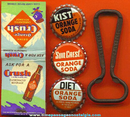 (5) Small Old Orange Soda Advertising Items