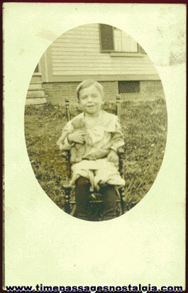 Old Unused Real Photo Post Card Of A Boy And His Teddy Bear