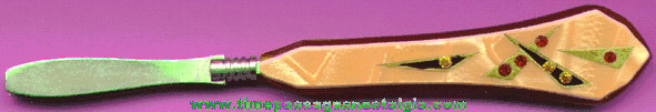Old Pair Of Bakelite Tweezers With (7) Embedded Stones