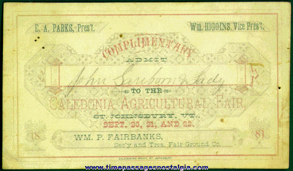 1881 Caledonia Agricultural Fair Complimentary Ticket