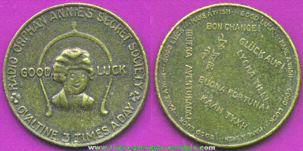 1934 Radio Orphan Annie Brass Good Luck Coin / Token Premium