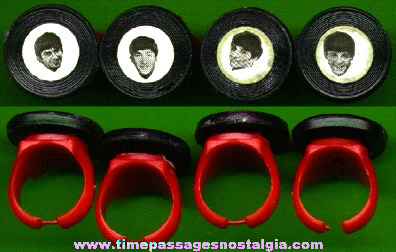 (4) Different BEATLES Toy Picture Rings