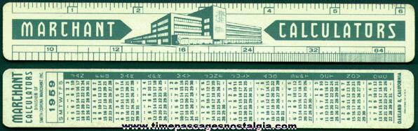 1959 Smith-Corona Marchant Calculator Advertising Premium Calendar Ruler