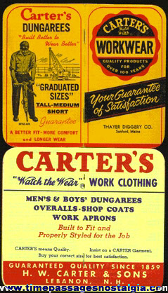 (2) 1965 CARTER'S WORKWEAR Advertising Premium Booklets