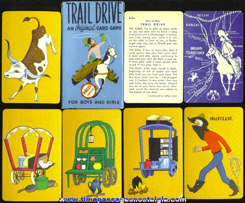 "Old Boxed ""TRAIL DRIVE"" Children's Card Game"