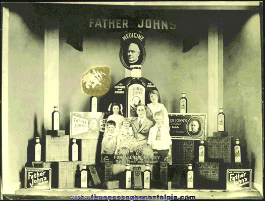 Old FATHER JOHN'S MEDICINE Store Window Display Photograph