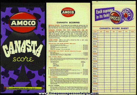 Old American Oil Co. (AMOCO) Canasta Score Book Advertising Premium