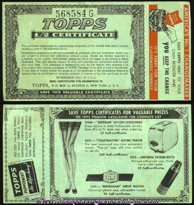 1949 TOPPS GUM Advertising Premium Coupon