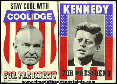 (2) Different TOPPS BUBBLE GUM Mini Presidential Campaign Posters
