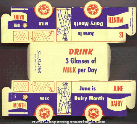 Old Paper Advertising Premium Milk Truck