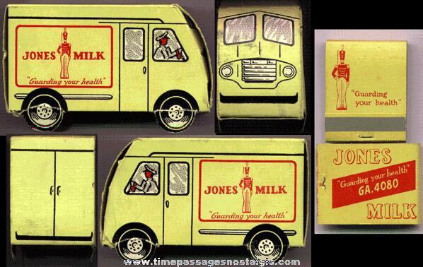 ©1950 Advertising Premium Paper Milk Truck With (10) Unused Milk Advertising Match Packs