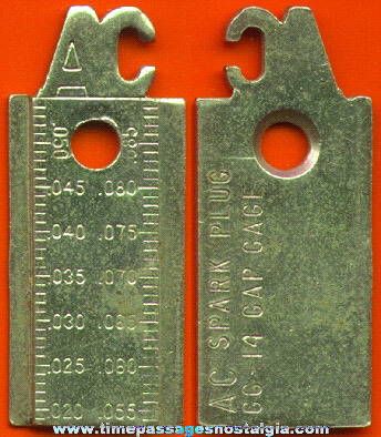 Old AC Spark Plug Advertising Premium Spark Plug Gauge
