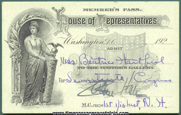 1920's U.S. House Of Representatives Member Pass