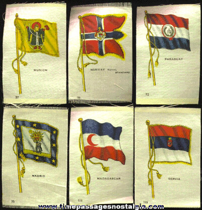 (6) Old Flag Tobacco Silk Premiums