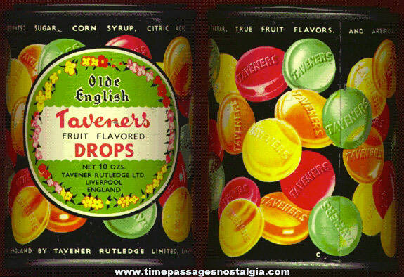 Colorful Old Taveners Candy Advertising Tin