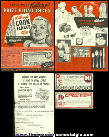 (3) 1953 - 1954 Kellogg's Cereal Premium Offer Paper Items
