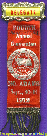 1912 Independent Companions Of America Convention Ribbon