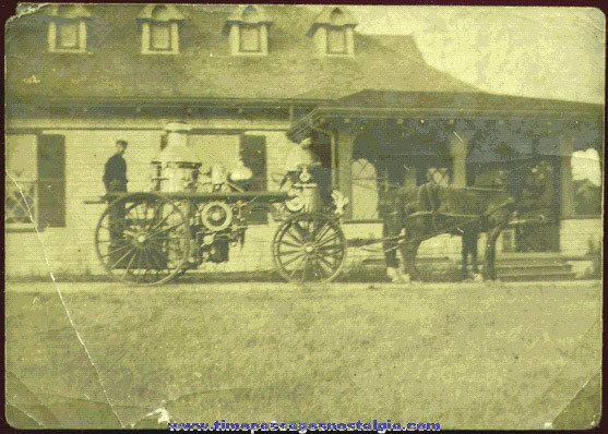 Early Horse Drawn Fire Engine Photograph