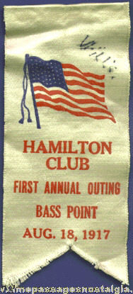 1917 HAMILTON CLUB First Annual Outing Ribbon