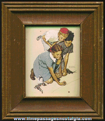 Small Framed Copy Of A Norman Rockwell Marble Game Scene