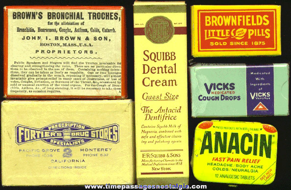 (6) Small Old Medicine Advertising Boxes
