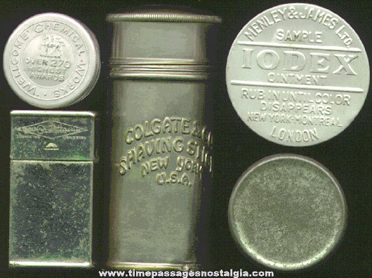 (5) Old Small Medicine Advertising Containers