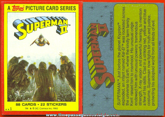Complete Set Of (88) 1980 SUPERMAN II Topps Bubble Gum Trading Cards