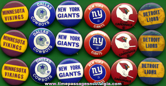 (18) Football Team Pin Back Buttons