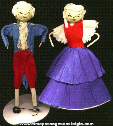 Old Pair Of George & Martha Washington Decoration Figures