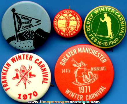 (5) Different Old Winter Carnival Advertising Pin Back Buttons